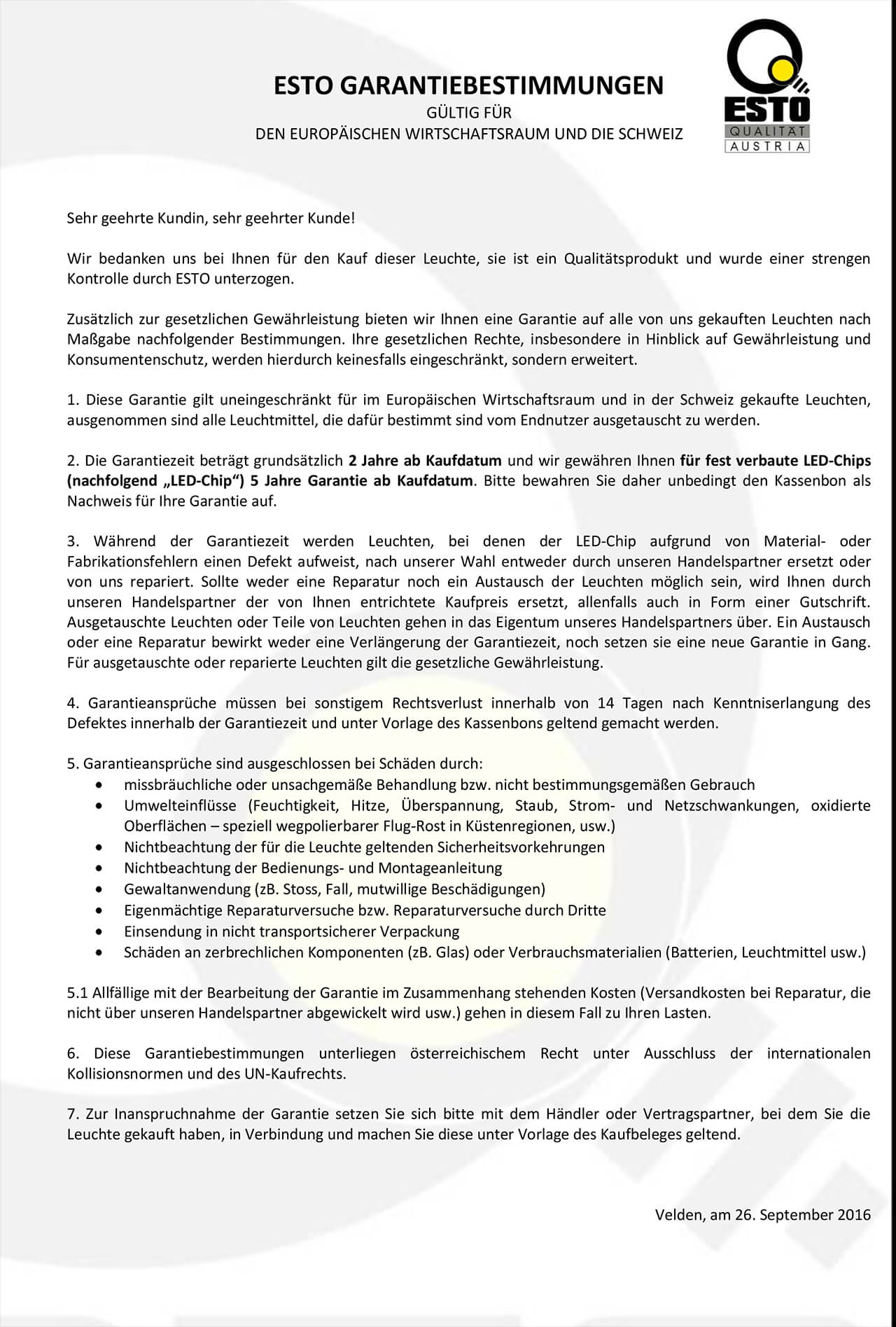 ESTO-Garantiebestimmungen 26-09-2016